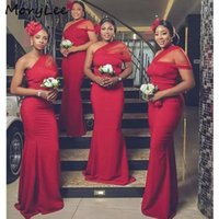 Burgundy Mermaid Bridesmaid Dress One Shoulder Sleeveless Long Bridesmaids Custom Made Prom Dresses