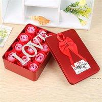 Мыло розовый цветок подарок 12 шт. / Комплект искусственный розовый цветок подарок с любовными буквами Валентина день материнский день rewe4830
