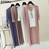 İlkbahar Yaz Kimono Örgü Uzun Hırka Kadınlar Gevşek Uzun Bluzlar Gömlek Plaj Gömlek Güneş Kremi Giyim Kadın Rahat Ince Ceket Y200909