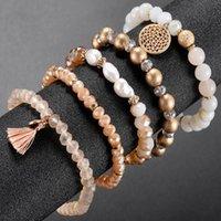 Bloccato, Fili Five Piece Set Strand Bracciali Bracciali da donna per perle da donna in cristallo gioielli in rilievo