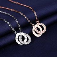 Pendant Necklaces Exquisite Double Circle Necklace For Women Fashion Love Letter Design Chain Jewelry Accessories Lady Z236