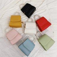 Mode neue Kinder Perle Kette Handtaschen Mädchen Brief PU Leder Messenger Bag Luxus Frauen Mini Square One-Shoulder Bags A6095