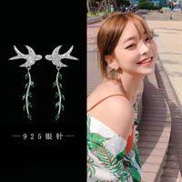 2021 Nouvelle hirondelle Zircon Long Feuille anti-allergie 925 Pure Silver Aiguille Boucles d'oreilles coréennes