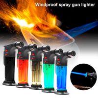 High jet Flame Butane Gas Transparent body design Refillable Adjustable Jet Torch Lighter BBQ Tools Ignition Tool H0916