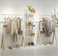 Clothing store display rack Commercial Furniture women cloth shop hanging Organization shoe bag racks landing against the wall clothes Storage Holders white