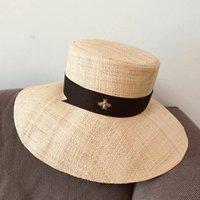 2021 Nova Raffia Clássica Verão Para Mulher Brim Grande Brim Top Bucket Sol Senhora Vestido Igreja Fedoras Beach Kentucky Derby Hat IS2N