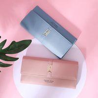 Designer-Kreditkarten-Brieftaschen-Damen-kleiner leder-blauer Geldbörse lange Fonds-Hand-Paket-Paket drei Fraktur-HASP-junge Europäer für Frauen