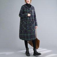 Women's Laine Blends Vanovich Style coréen Boucle Mid-Longueur Plus Taille Plaid Laine Manteau 2021 Automne et hiver Vintage