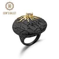 Gem's Ballet Sun Chaveer História Natural Citrino Anel Vintage 925 Sterling Prata Anéis Handmade para Mulheres Partido Fine Jewelry
