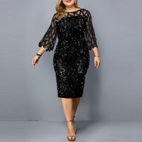 Kadın Artı Boyutu Elbiseler S-5XL Avrupa ve Amerikan Kişiselleştirilmiş Pullu Tasarım Büyük Elbise Seksi Kulübü