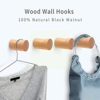 Hooks & Rails Wood Clothes Hanger Wall Mounted Coat Hook Decorative Storage Glue Screw Scarf Rack Key Holder With Bathroom Handbag Hat H0Y8