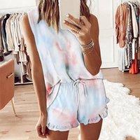 Yoga Outfits Summer Womens Teams Dye Imprimé Ensemble Sans manches Loose Tracksuit Home Casual Fitness Sports Porter pour femme Gym Vêtements1