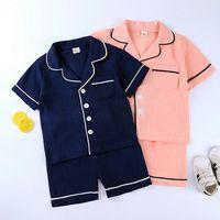 Girls Pajamas летняя детская одежда для одежды Pajamas Baby Manage Boy Designers Одежда для спящего одежды Детские набор рубашки шорты одежда CZ702