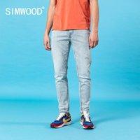 Simwood Verão Novo Slim Fit Caperd Calças de Jeans Cinzas Homens Lavagem Denim Calças 10.5oz Duplo Core Clássico SJ150391