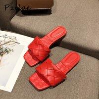 PZILAE новые летние тапочки PU кожи высококачественные скольжения на слайдах женщин мода квадратный носок повседневная флипсайт пляжные плоские тапочки