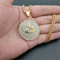 Hip Hop Iced Out Round Pendant Necklace Stainless Steel Islam Muslim Arabic Gold Color Prayer Jewelry Drop 210929