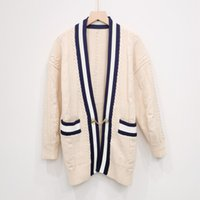819 2021 Autumn Brand Same Style Sweaters Cardigan Regular Long Sleeve V Neck Long Cardigan Apricot Women Clothes niu