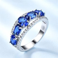 Woman ring 925 sterling silver egg-shaped sapphire tanzanite fashion luxury finger jewelry 5 to 9 sizes