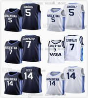 2021 Pallacanestro Jerseys Argentina Olimpiadi 5 Manu Ginobili 7 Facundo Campazzo 14 Gabriel 4 Luis Scola Deck Navy White