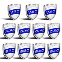 S40 S60 S80 S90 V40 V60 V90 XC40 XC60 XC9 C30 로고 스티커 금속 Volvo 측면 펜더 바디 배지 명판 3D 자동차 스타일링