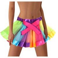 Skirts Womens Rainbow Elastic 3 Layered Short Skirt Adult Tutu Dancing Mini Saia Feminina Summer Women #YL10