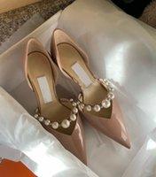 Elegant Bridal Wedding Dress Shoes Aurelie Pumps Lady Sandals Pearls Strap Luxury Brands Pointed Toe High Heels Women Walking With Box,EU35-42