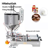 Double Heads Mixing with Heater Filler Very Viscous Material Paste Sugar Chocolate Sauce Packaging Equipment Bottle Filling Machine