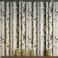 Wing wallpaper retro nostalgic environmental protection PVC wallpaper wood grain tree trunk birch coffee shop wallpaper Q0723