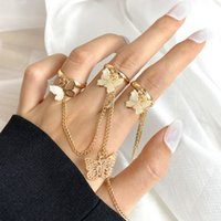 Punk Butterfly Ring Hip Hop Multi-layer Adjustable Chain Two Open Finger Rings Alloy man Rotate for Women Party Gift 54131
