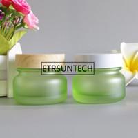 50G Frosted Bamboo Lid Cream Jar Eye Lip Balm Sunscreen Feet Black Mask Travel Refillable Glass Bottle Packaging F1206high qty