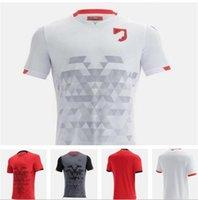 221 ألبانيا الرئيسية كرة القدم الأحمر جيرسي 21/22 بعيدا قميص أبيض أسود أسود قصير الأكمام