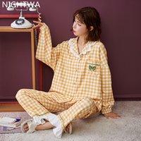 Nightwa Pijama conjuntos a cuadros primavera otoño manga larga floja estilo coreano ocio ocio homewear ropa de dormir turn-down collar NUEVO L0304