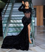 2021 Plus Size Arabic Aso Ebi Black Mermaid Sexy Prom Dresses Beaded High Split Sequined Evening Formal Party Second Reception Gowns Dress ZJ202