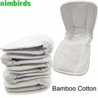 5 unids reutilizable de algodón de bambú inserto bebé tela de carbón pañal alfombra inserciones de pañal insertos cambiantes forros tapa de pañales inserto al por mayor 210305