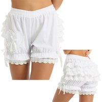 Womens Vintage Victorian Gothic Pantaloncini Pantaloncini Pantaloncini Costume Costume Elastico Cotone in cotone Layed Ruffle Ruffle Trim Lady Bloomers Shorts