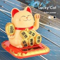 بالطاقة الشمسية Maneki Neko Neko Lucky Cat Black / White الترحيب الصخري الصينية محظوظ القط للمنزل سيارة فندق مطعم ديكور Y0910