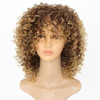 15 pouces Afro Kinky Curly Perruques synthétiques Curly Highterempérature Fibre Pelucas Simulation Simulation Human Hair Perruque WS642M