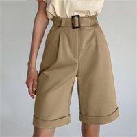 الساق واسعة فضفاض برمودا السراويل للنساء عالية الخصر الأرجواني أو أسود القطن الحرة حزام جودة فام 210714