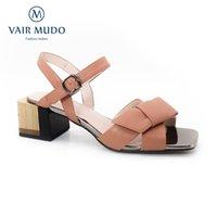 Sandales Vair Mudo Femmes Chaussures Equipe Talons Véritable Cuir Sangle Casual Spring Summer Automne Mode Élégant LX16