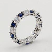 Großhandel viele störer funkelnde modeschmuck echt 925 sterling silber blau saphir cz diamant stapel hochzeitsband ring für frauen geschenk