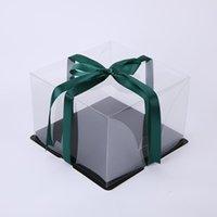 KCCB plastique animal de compagnie noire boîte de gâteau de mariage fête d'anniversaire de mariage cadeau carré emballage boîte hauteur boîte de gâteau transparent