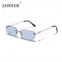 Sunglasses Jaspeer Rimless Rectangle Women Uv400 Driving Sun Glasses Men Clear Color Summer Accessories Square Small Size