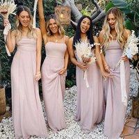 Bridesmaid Dress Dusty Pink Blue Dresses Chiffon Spaghetti Straps A Line Beach Wedding Party Gown Long Vestido De Festa Casamento