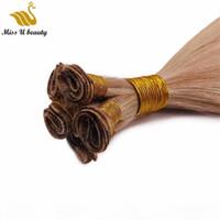 Brasilianisches reines Haarhand gebunden schuss remy handgebundenes menschliches haare 2 bündel 100g bündel leichte farbe haarverlängerung
