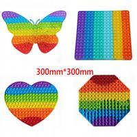30 * 30 cm! Big Rainbow Fidget Push Bubble Giocattolo Bomboniere Sforzo colorato Reliever Sensoriale Sensoriale Giocattoli Silicone Per Bambini Adulti in magazzino Invia veloce CM31