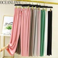 Pantalon Femme Capris Oceanlove Summer Silk Silk Femmes Solide Taille High Taille Élastique Élastique Ropa Mujer Lâche Tous Match Casual Pantalon Femme 16