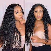 Alinybeauty 150% 180% 250% Brazilian Hair Wigs Deep Wave Lace Frontal Wigs Human Hair Lace Front Curly Wigs For Black Women