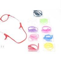 어린이 조정 가능한 안경 끈 끈 다채로운 파티 호의 탄성 실리콘 선글라스 체인 스포츠 안티 슬립 문자열 안경 BWF9059