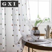 Círculo colorido Sheer Cortinas Cortina de Tule para sala de estar Janela de tule bordada cortina Voile branco de algodão