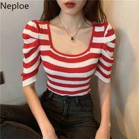 Женская футболка NELLOE слойки с коротким рукавом футболки летние тонкие трикотажные тройники винтажные квадратные воротниковые воротничка тонкая пуловер повседневная полосатые твердые вершины